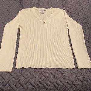 Calvin Klein cream stretch sweater- size L